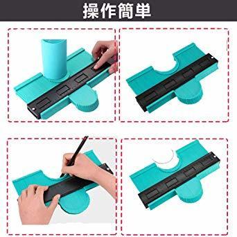 250mm グリーン 250mm 型取りゲージ コンターゲージ 250mm 測定ゲージ 測定工具プラスチック製 目盛付き(グリ_画像6