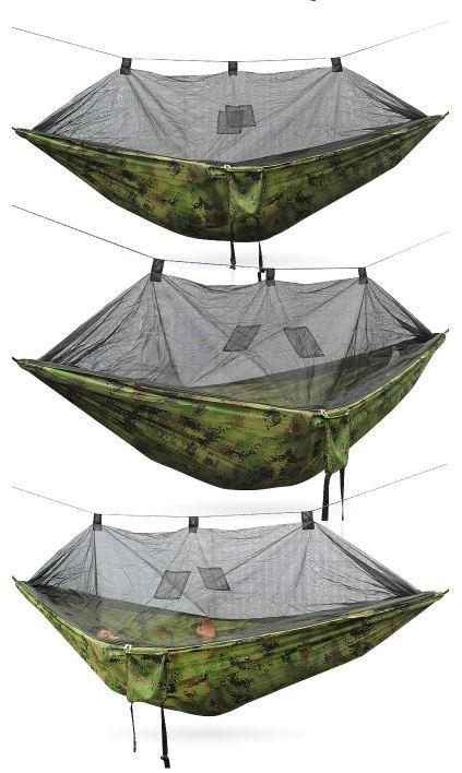 大人気!ゆったりハンモック♪キャンプ 蚊帳付き ハンモック Hammac シングル 旅行 セット スイング_画像2