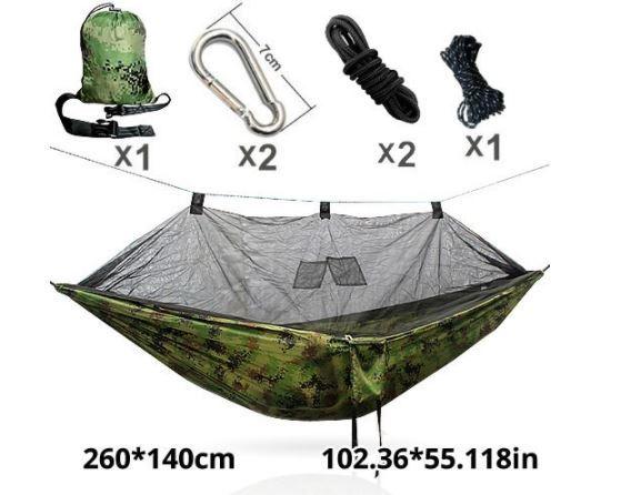 大人気!ゆったりハンモック♪キャンプ 蚊帳付き ハンモック Hammac シングル 旅行 セット スイング_画像1