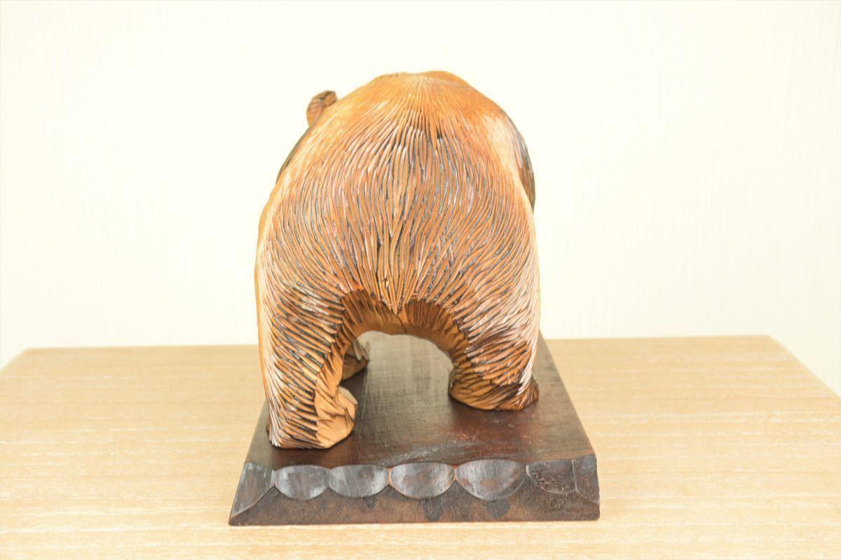 木彫りの熊 台座付き 北海道 民芸品 熊の置物 オブジェ 飾りもの インテリア_画像4