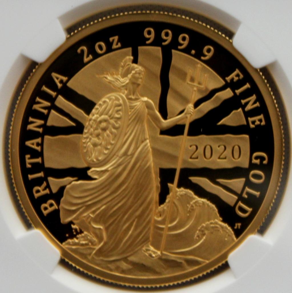 2020年 イギリス ブリタニア 2oz 200ポンド 金貨 NGC PF70UC 最高鑑定品!!発行枚数160枚!_画像2