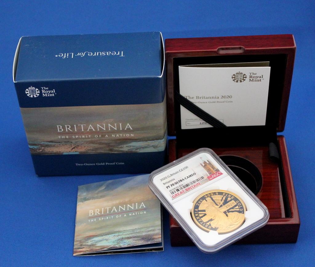 2020年 イギリス ブリタニア 2oz 200ポンド 金貨 NGC PF70UC 最高鑑定品!!発行枚数160枚!_画像9