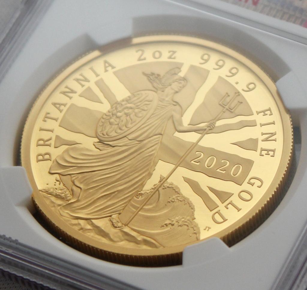 2020年 イギリス ブリタニア 2oz 200ポンド 金貨 NGC PF70UC 最高鑑定品!!発行枚数160枚!_画像3