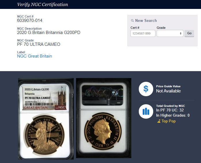 2020年 イギリス ブリタニア 2oz 200ポンド 金貨 NGC PF70UC 最高鑑定品!!発行枚数160枚!_画像10
