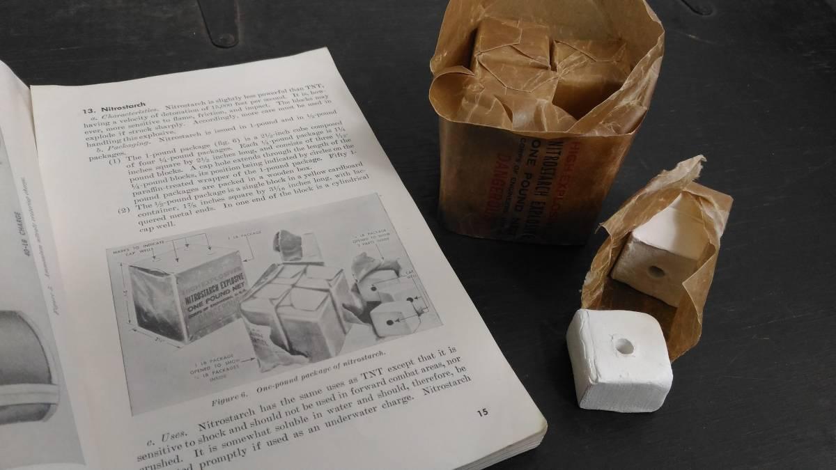 WW2 米軍 硝酸でんぷん爆薬 ニトロスターチ 1ポンド包装 レプリカ_画像3