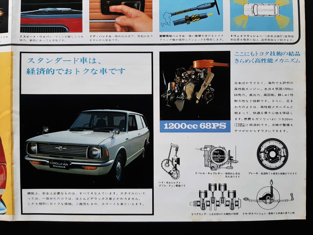 トヨタ カローラ バン 1200 1970年代 大判 当時物カタログ ポスター大 !! ☆ TOYOTA COROLLA VAN 1200cc KE26V 国産車 絶版 旧車カタログ_画像8