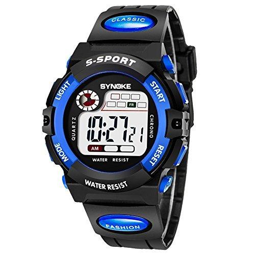 ブルー1 子供腕時計防水 デジタル表示 ledライト付き アラーム ストップウォッチ機能 12/24時刻切替え多機能スポーツ腕時_画像8