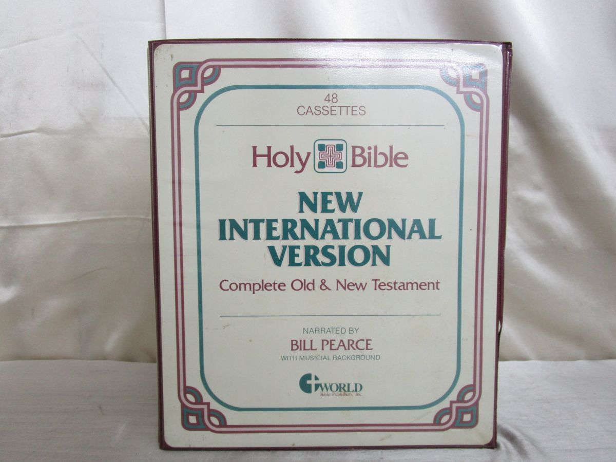 ▲01)【セール】Holy Bible/New International Version/カセットテープ48本中1本欠け/キリスト教/新約/旧約/聖書/宗教/信仰/神学_画像1
