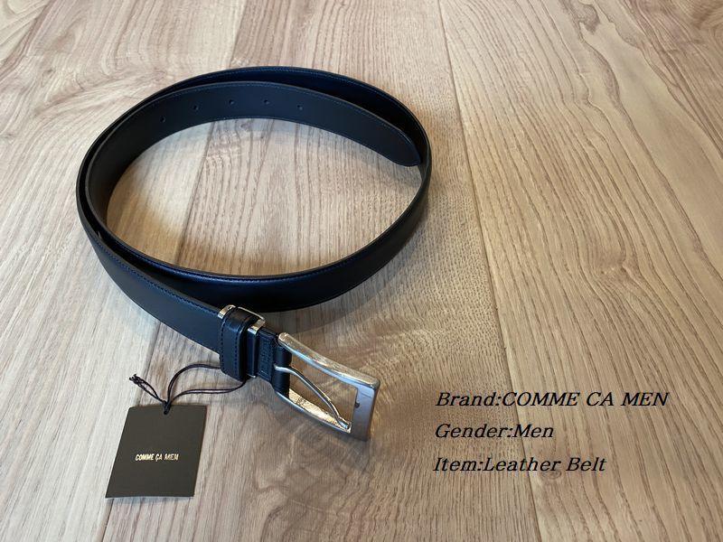 新品 COMME CA MEN コムサメン 日本製 ブランドロゴレザーベルト 05ブラック 77YL30 定価16.500円