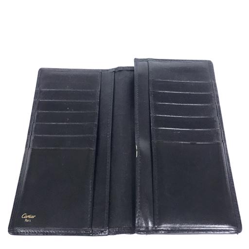 カルティエ レザー 二つ折り 長財布 黒 ブラック ロゴ ワンポイント 保存箱 付属 Cartier_画像4