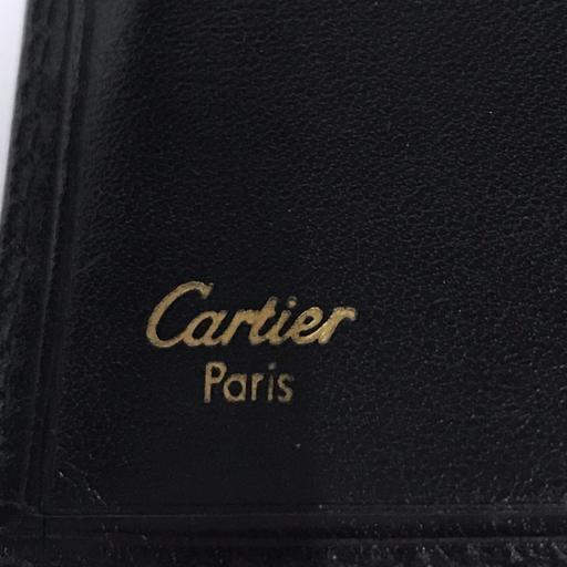 カルティエ レザー 二つ折り 長財布 黒 ブラック ロゴ ワンポイント 保存箱 付属 Cartier_画像6