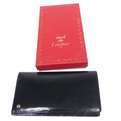 カルティエ レザー 二つ折り 長財布 黒 ブラック ロゴ ワンポイント 保存箱 付属 Cartier_画像1