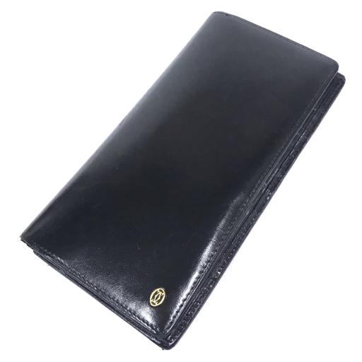 カルティエ レザー 二つ折り 長財布 黒 ブラック ロゴ ワンポイント 保存箱 付属 Cartier_画像2