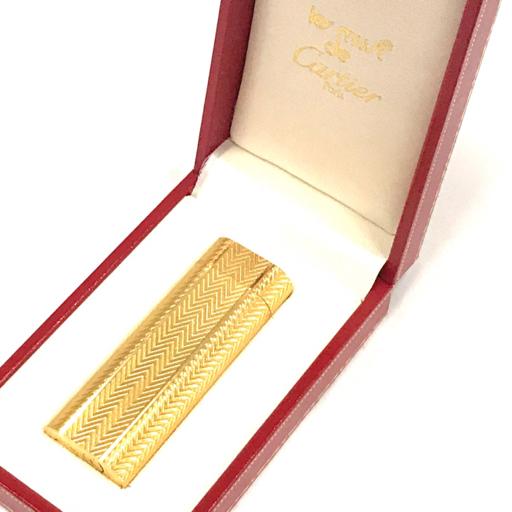 カルティエ ガスライター オーバル 総柄 ゴールド金具 約7×2.5cm 着火× 付属品有り Cartier_画像1