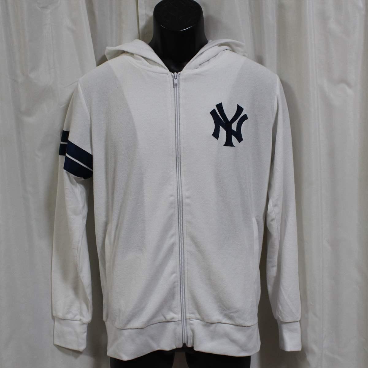 Majestic マジェスティック パーカー ホワイト Mサイズ 新品 白 ニューヨークヤンキース NEW YORK YANKEES フーディー フルジップ パイル地_画像1