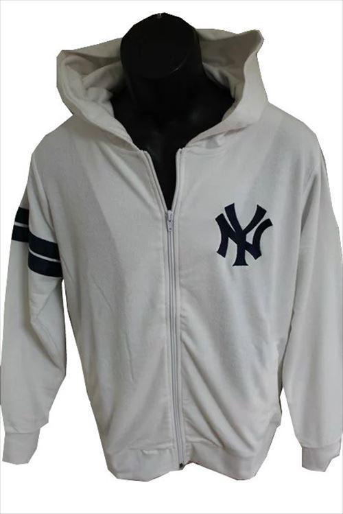 Majestic マジェスティック パーカー ホワイト Mサイズ 新品 白 ニューヨークヤンキース NEW YORK YANKEES フーディー フルジップ パイル地_画像5