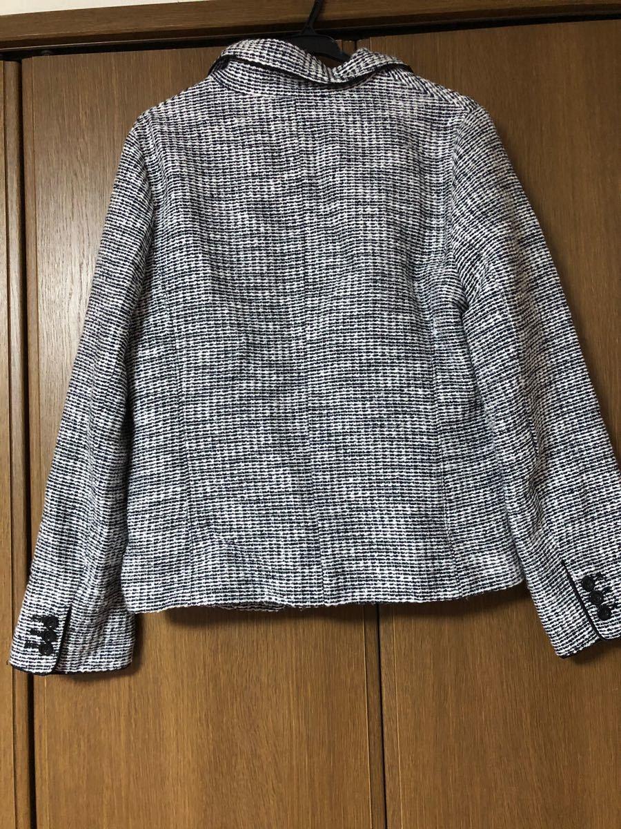 ジャケット ツイード 白 黒 モノトーン アウター 秋 冬 テーラードジャケット