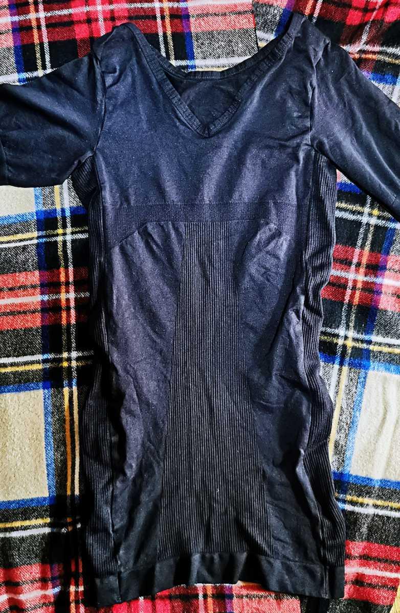 美品 加圧シャツ 加圧インナー メンズ MONOVO マッスルプレス Vネック 半袖 着圧インナー 筋力サポート トレーニング 金剛力士 L ブラック