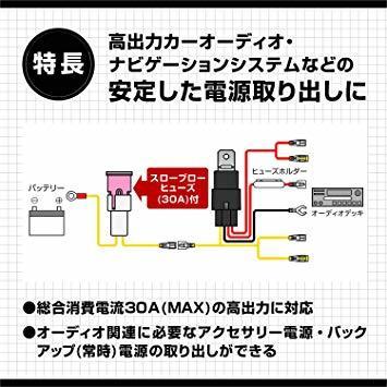 1つ限り!エーモン AODEA(オーディア) リレー付電源ケーブル 30A MAX (2049)_画像2