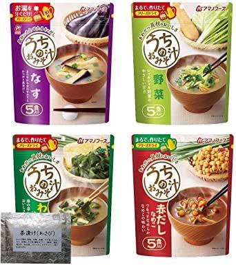 アマノフーズ フリーズドライ 味噌汁 ( なす 野菜 わかめ 赤だしなめこ) 4種類 30食 うちの おみそ汁 わさび茶漬け セ_画像1