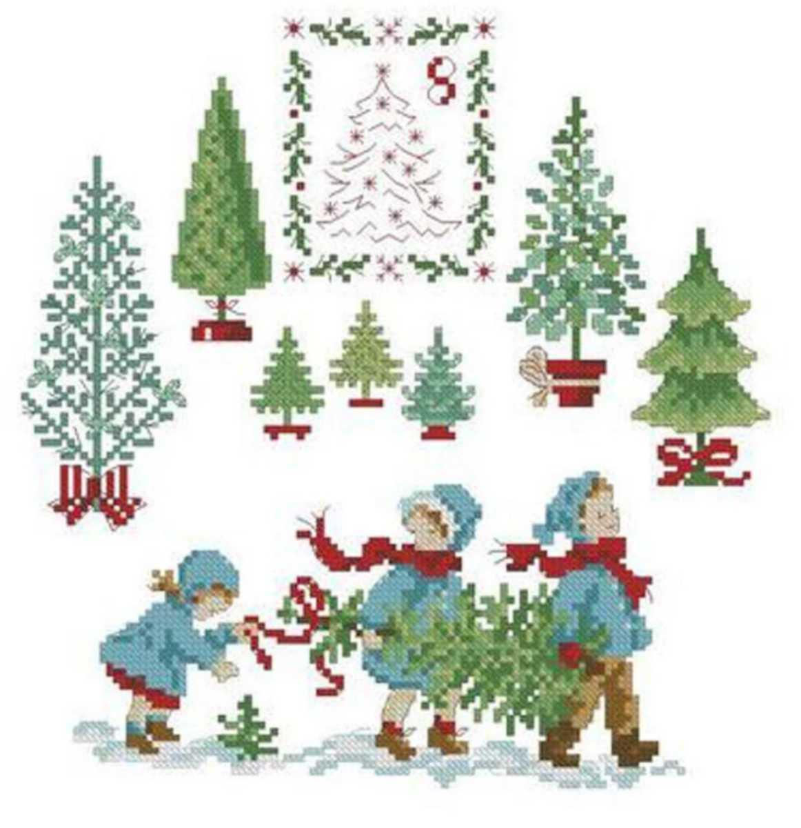 クロスステッチキット◆モミの木と子どもたち◆クリスマスツリー◆刺繍キット 初心者