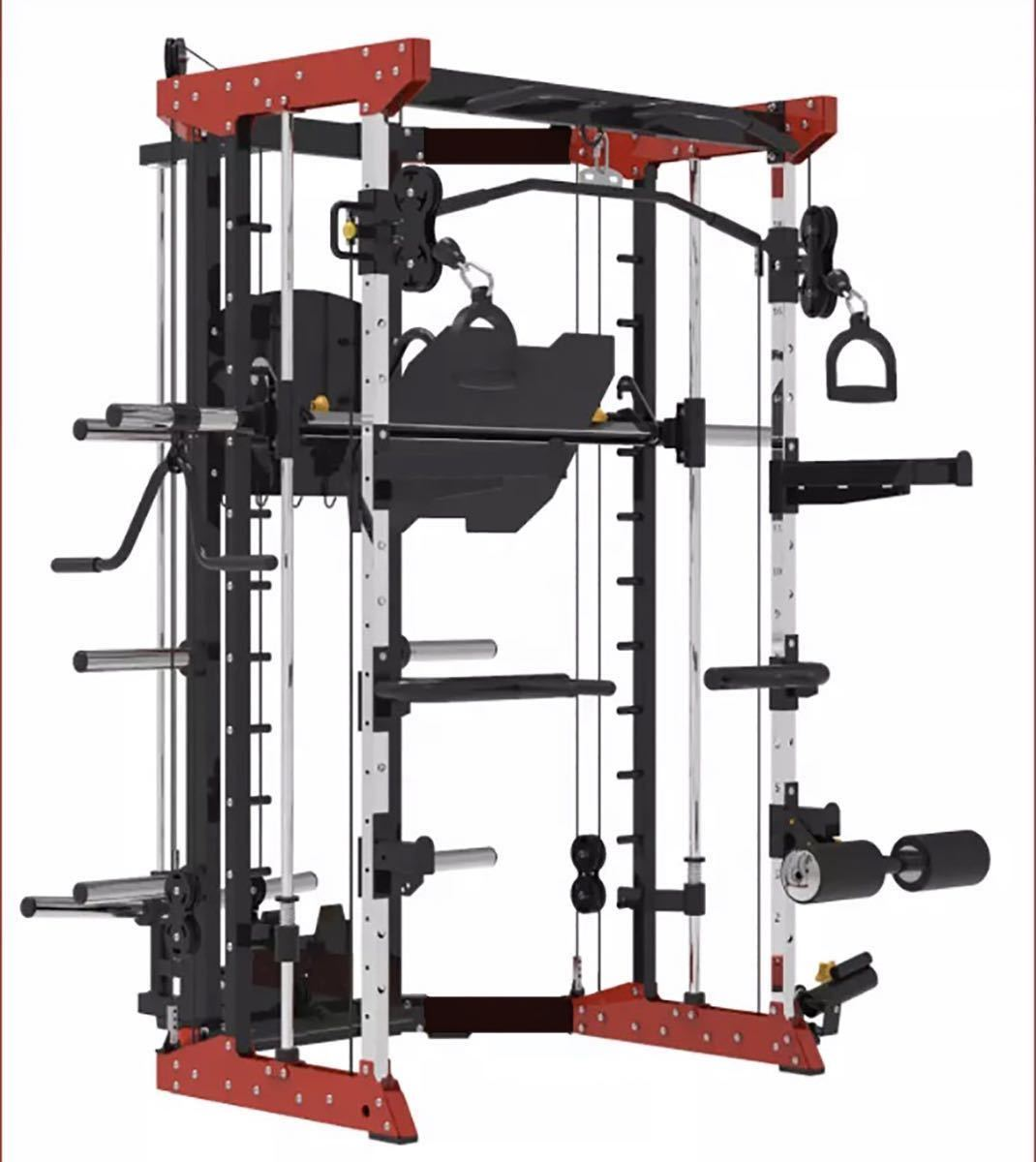 新型 SOVRAN (赤) マルチスミスマシン、35kg ラバープレートセット、レッグプレス、パワ