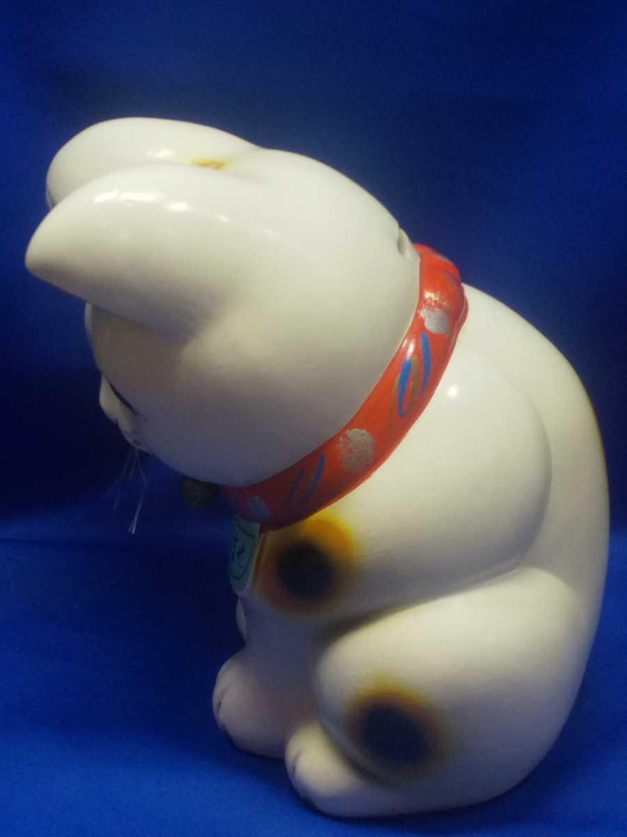 レトロ 招き猫 お辞儀 貯金箱 陶器 いらっしゃいませ 商売繁盛 縁起物 ビンテージ_画像3