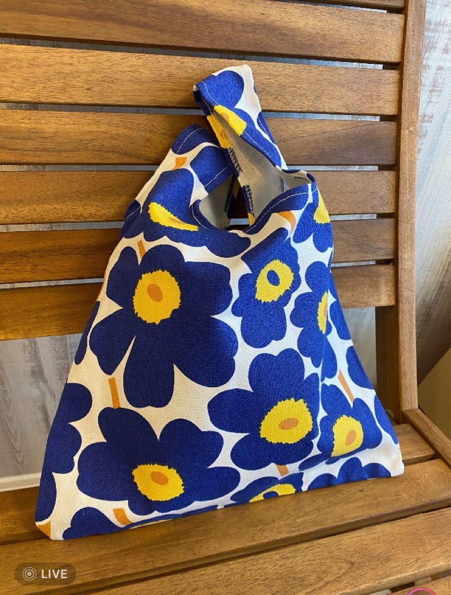 マリメッコ柄 トートバッグ エコバッグ 花柄 北欧 ブルー