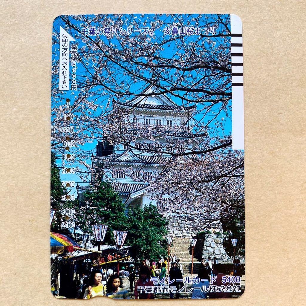 【使用済】 モノレールカード 額面5400円 千葉都市モノレール 千葉の祭りシリーズ 玄鼻山桜まつり 千葉城_画像1