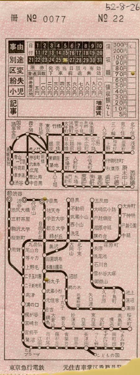 ◎ 東京急行 【 車内補充券 ? 】元住吉車掌区 乗務員 発行 S52.8.24 _メモはボールペンです