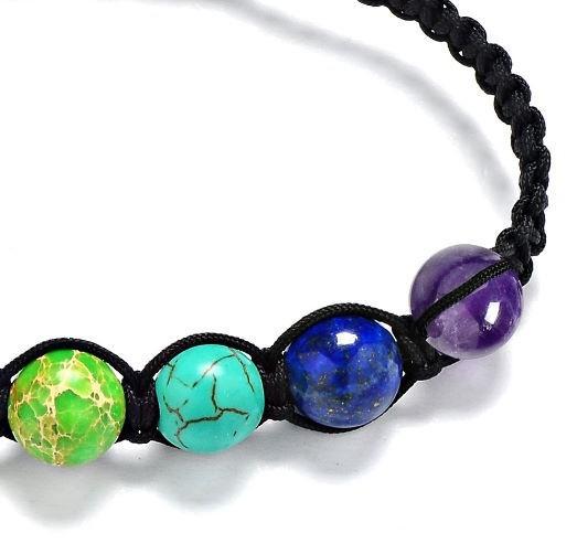 s819  8mm 7色の虹 7チャクラブレスレット 治療レイキ石数珠 ブレスレット _画像5