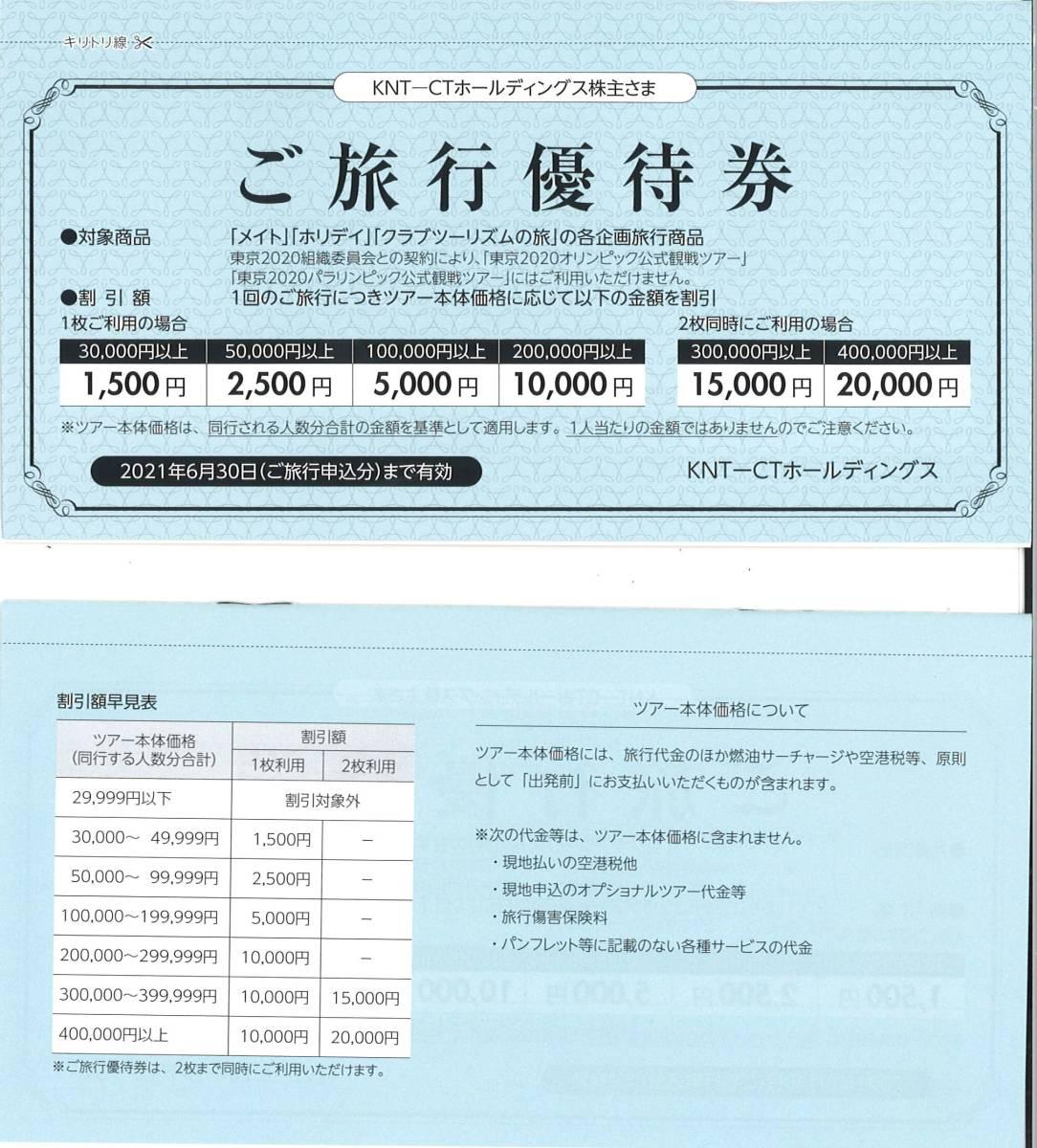 KNT-CTホールディングス株主優待券 ご旅行優待券1冊(2枚綴) 有効期限:2021.6.30 クラブツーリズム/KNTCT/メイト/近畿日本ツーリスト/割引券_画像1