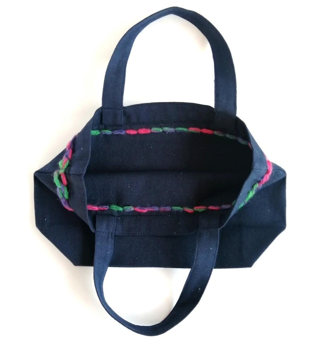 ハンドメイド 手縫いの刺繍 カラフルな毛糸 キャンバスミニトートバッグ ネイビー