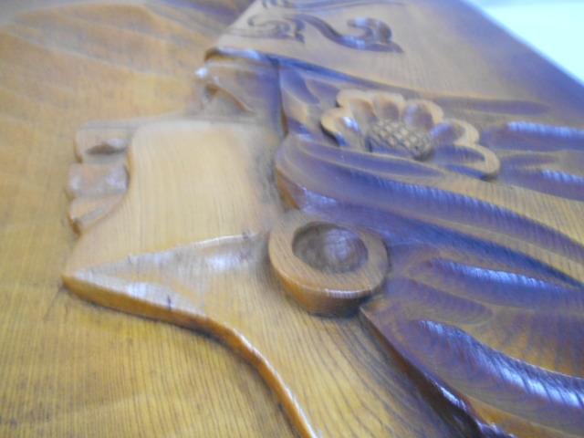 北海道民芸 アイヌ 木彫り 壁掛け 飾り 一枚板 検 工芸品 お土産 レトロ アンティーク 木工 美術品 文化 蝦夷 樺太_画像10