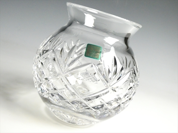k404 ウォーターフォード クリスタル マーキス ベース 花瓶 花入 飾壷_画像1