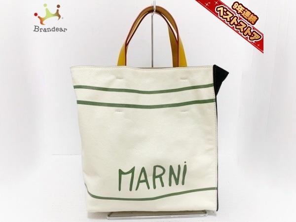 マルニ MARNI トートバッグ - レザー×キャンバス 白×黒×マルチ バッグ