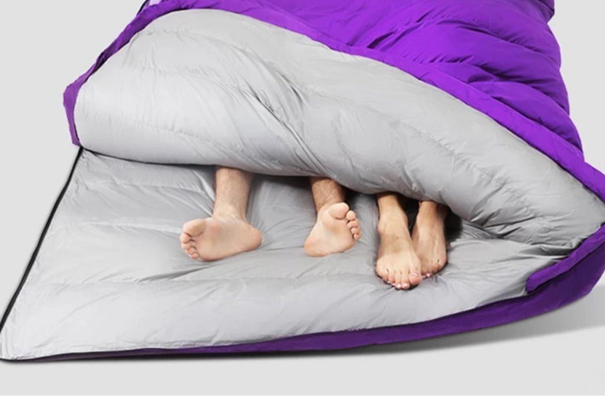 寝袋 寝袋シュラフ 軽量 ダックダウン  シュラフ ダブルサイズ ビッグサイズ