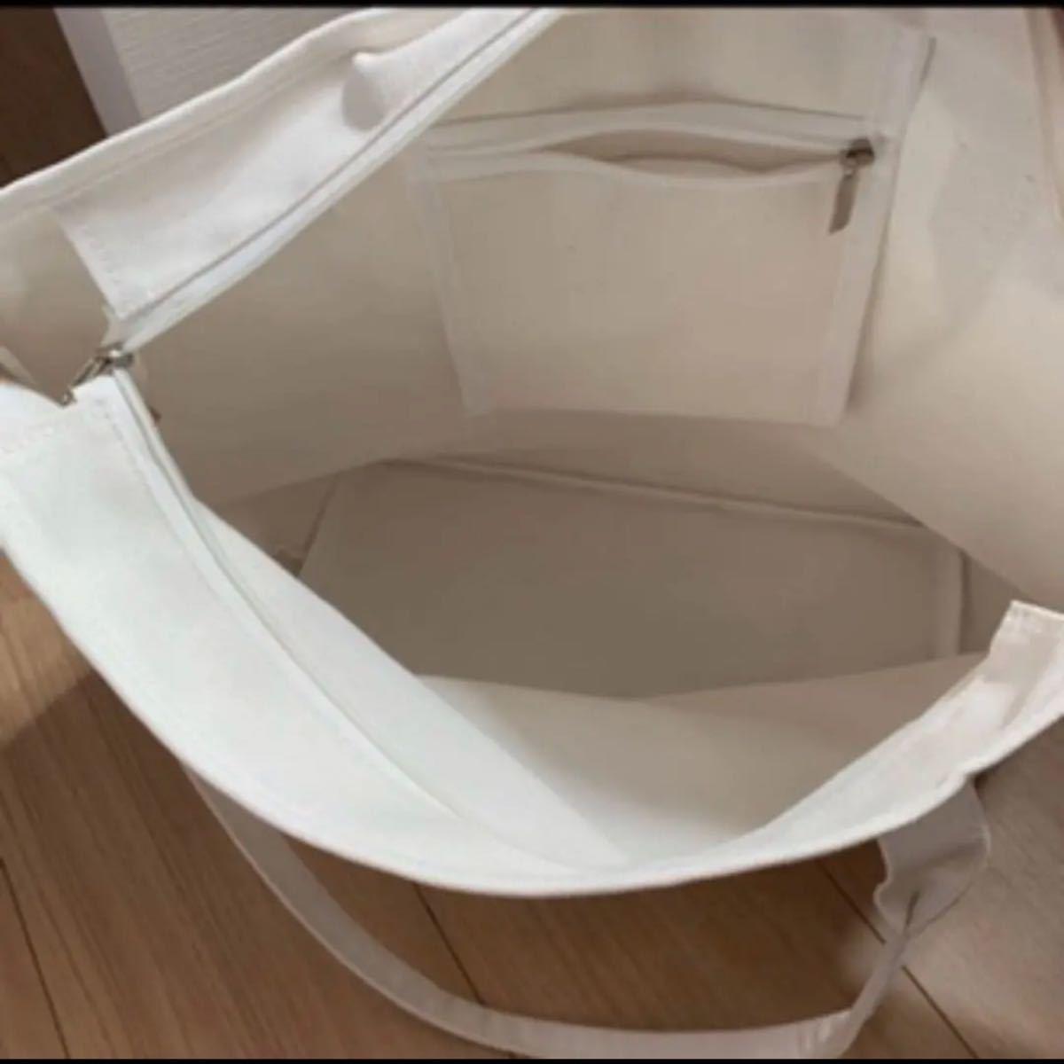 厚手キャンバストートバッグ キャンバス ショルダー バック 大容量  ホワイト韓国ファッション