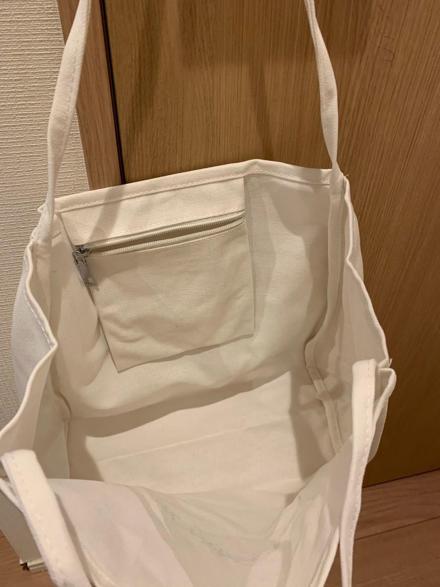 トートバッグ ショルダーバッグ キャンバス 大容量 シンプル ホワイト