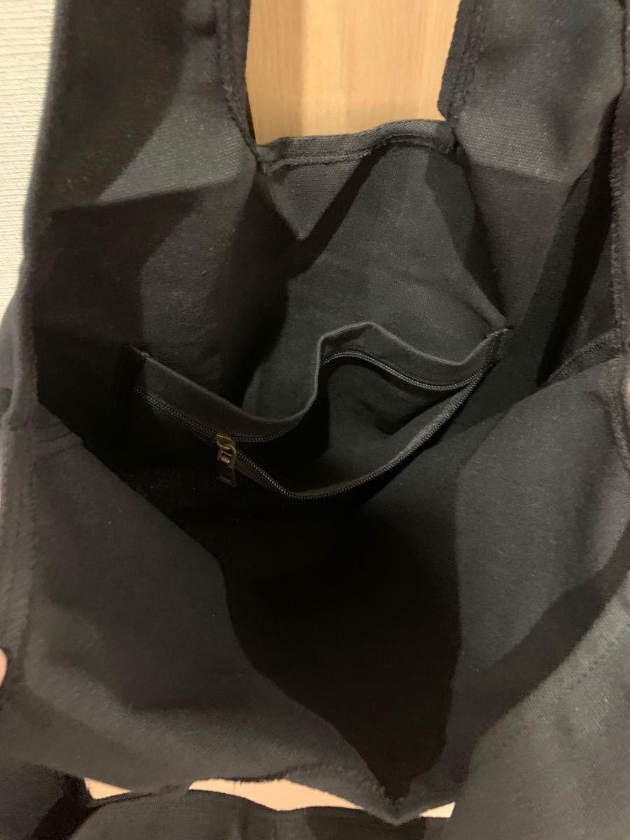 トートバッグ エコバッグ 大容量 キャンバス オシャレ 定番ブラック