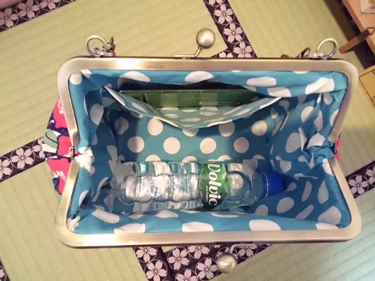 和柄 和 モダン 縦縞 青 椿 ツバキ ハイカラ 花 がま口 3way ショルダー バッグ ハンドメイド 手提げ 斜めかけ 和装 着物 長財布 入ります