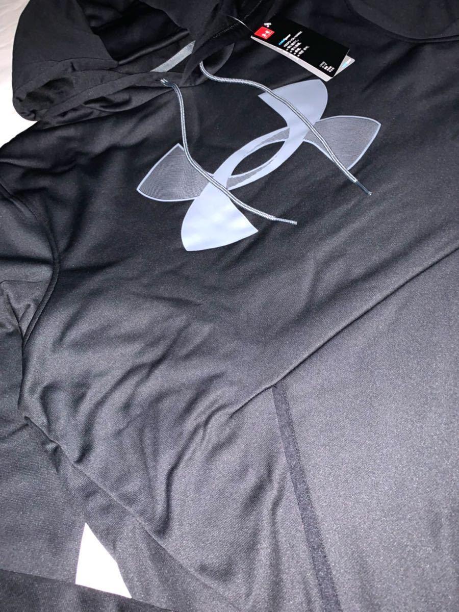 新品 サイズ 4XL「XXXXL」アンダーアーマー UNDER ARMOUR パーカー ビックロゴ フーディー プルオーバー ブラック_画像6