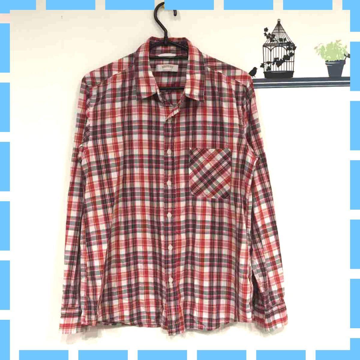 メンズシャツ ブラウニー チェックシャツ チェック柄 赤系 長袖シャツ