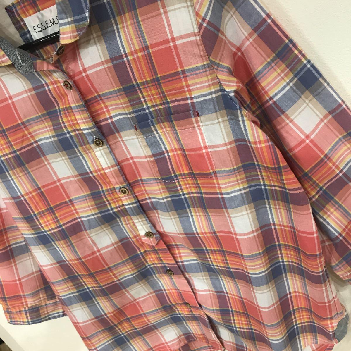 チェックシャツ 7分袖 チェック柄 ESSEME 美品