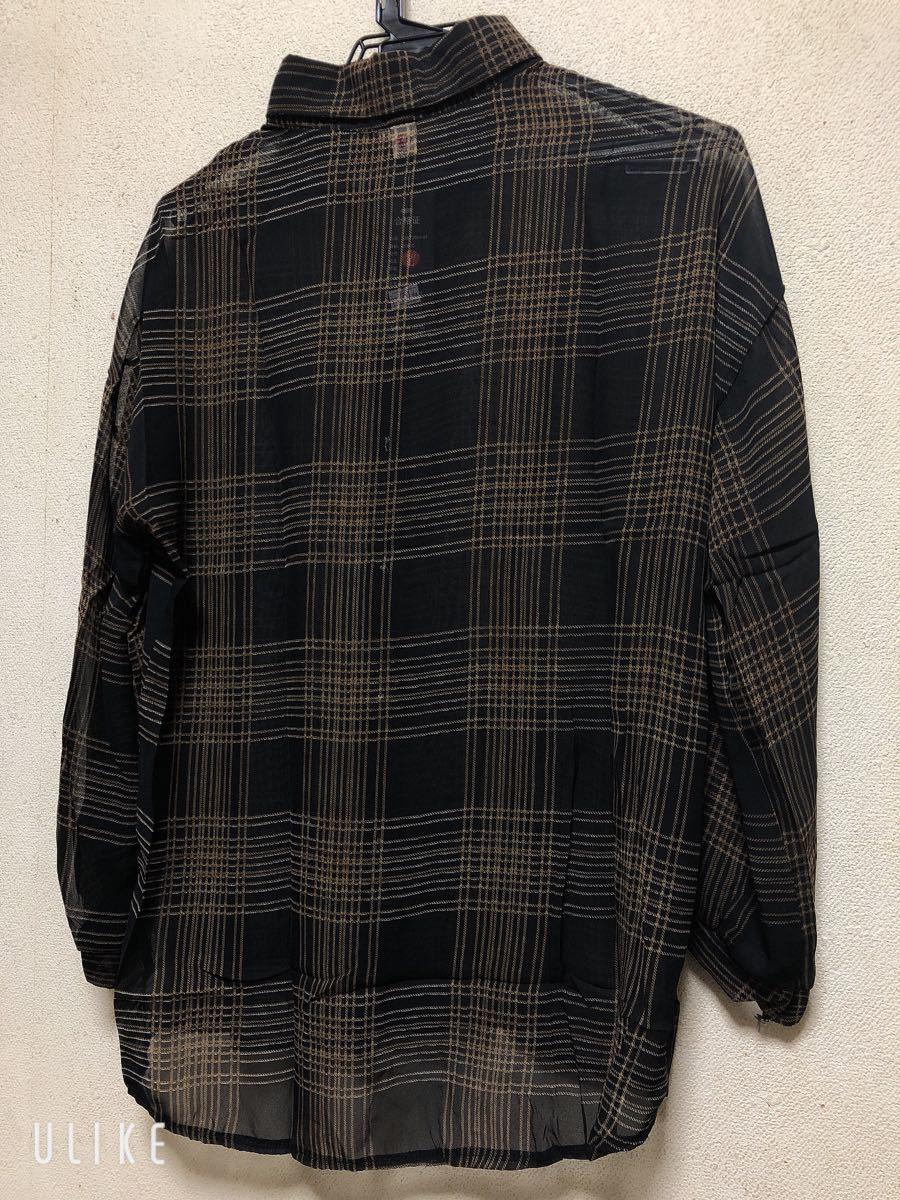 秋 冬  チェックシャツ ビックシルエット ゆったり 大きい 黒 前開き XL