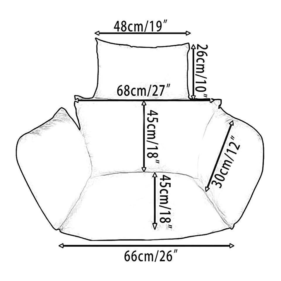 ハンモック椅子スイング庭屋外ソフトシートクッションシート 220 キロ寮の寝室の吊椅子バック枕(Black)_画像4