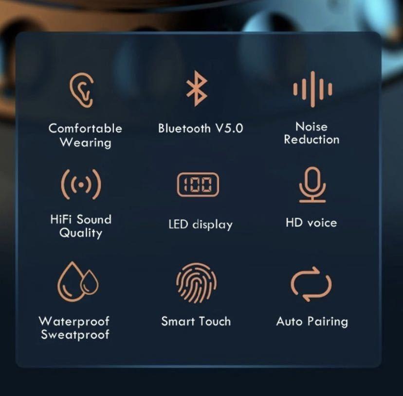 即日発送 2020最新版 ワイヤレスイヤホン イヤフォン Bluetooth 5.0 Hi-Fi 高音質 IPX5防水 モバイルバッテリーiPhone 12 Android_画像3