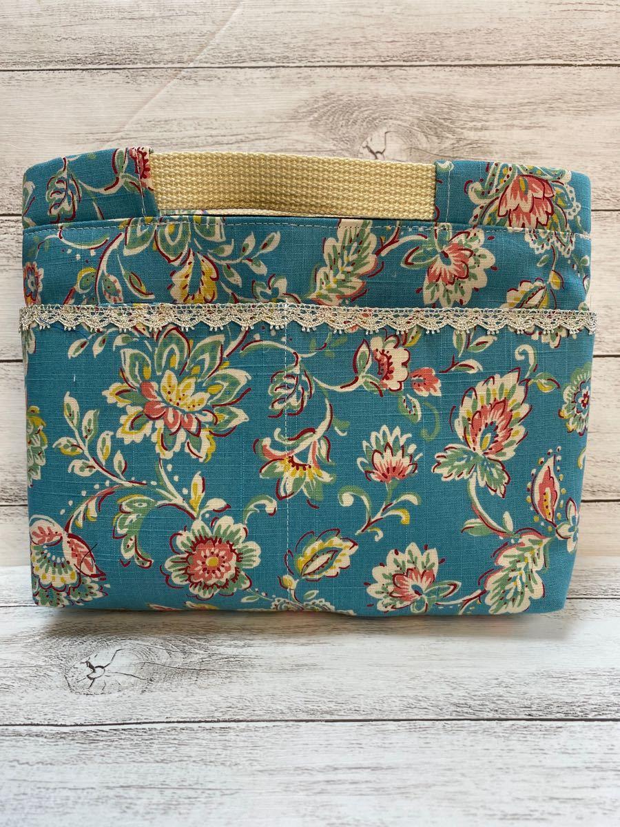 バレンタインSALE ハンドメイド バッグインバッグ 青い花柄