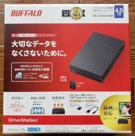 【新品・未開封】バッファローUSB3.1(Gen1)/3.0対応 HD-LD4.0U3-BKA 外付けHDD 4TB 【送料込み】