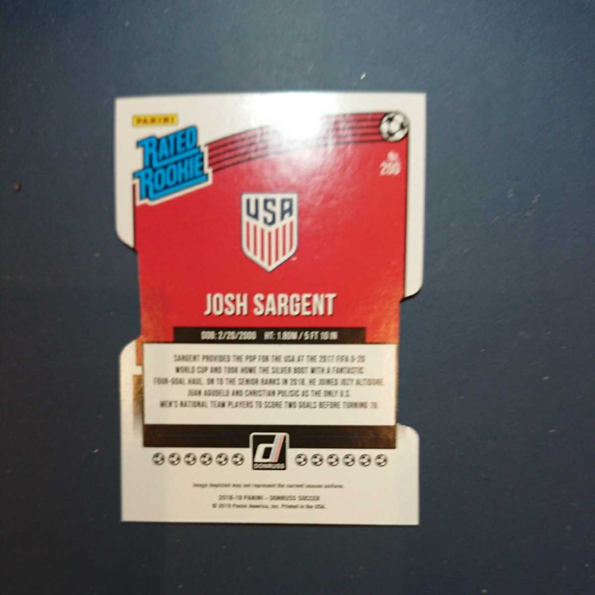 JOSH SARGENT 2018-19 PANINI DONRUSS RATED ROOKIE SILVER ダイカット 043/100_画像2